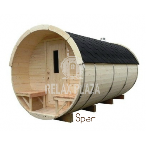 3.5m Barrel Sauna Spruce Wood ᴓ1.9m