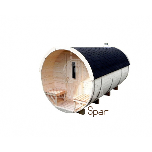 4m Barrel Sauna Spruce Wood ᴓ2.2m